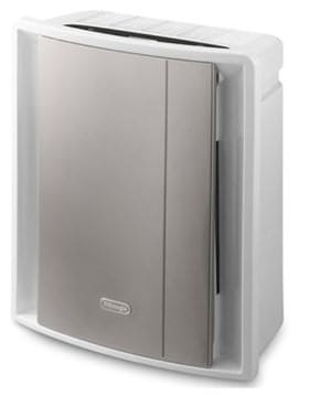 De'Longhi Compact Air Purifier 5 Level Filtration and Ioniser AC230, 80 W - White-Grey
