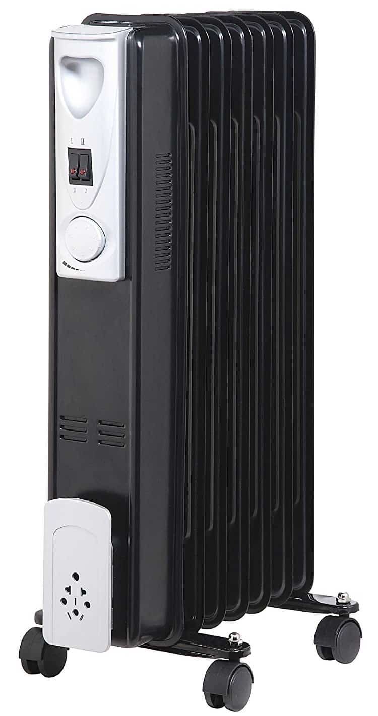 Kingavon BB-OR110 7-Fin Slimline Oil Filled Radiator - Black