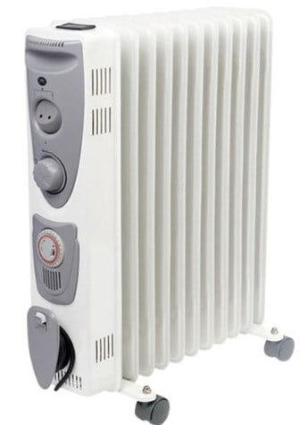Prem-I-Air 2.5kW Model 11 Fin Oil Filled Radiator with Adjustable Thermostat, 3 heat settings & 24 Hour Timer - EH1364