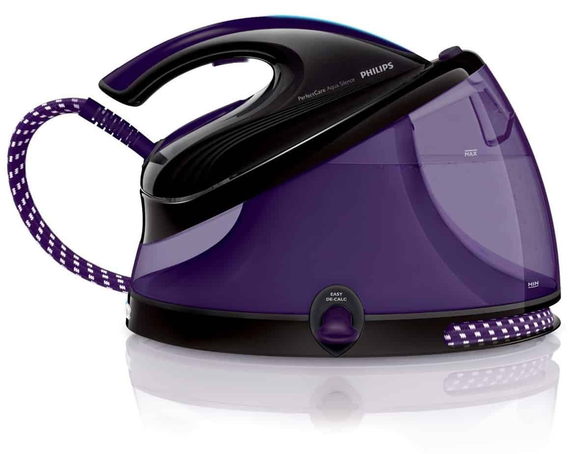 Philips GC8650/80 PerfectCare Aqua Silence Steam Generator Iron with OptimalTemp - 330 g Silent Steam Boost, 2.5 L, 2400 W - Black/Purple