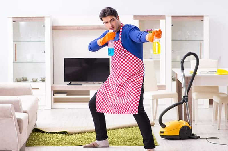 dirtiest place in your house Man cleaning products