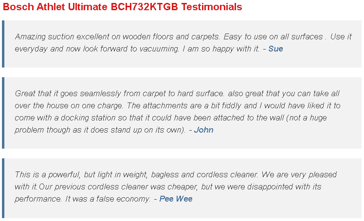 Bosch Athlet Ultimate BCH732KTGB Testimonials