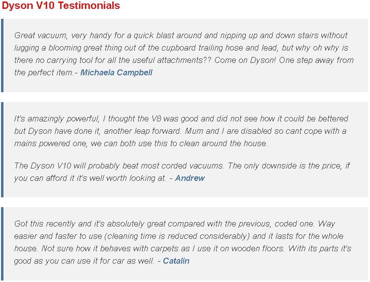 Dyson V10 Testimonials