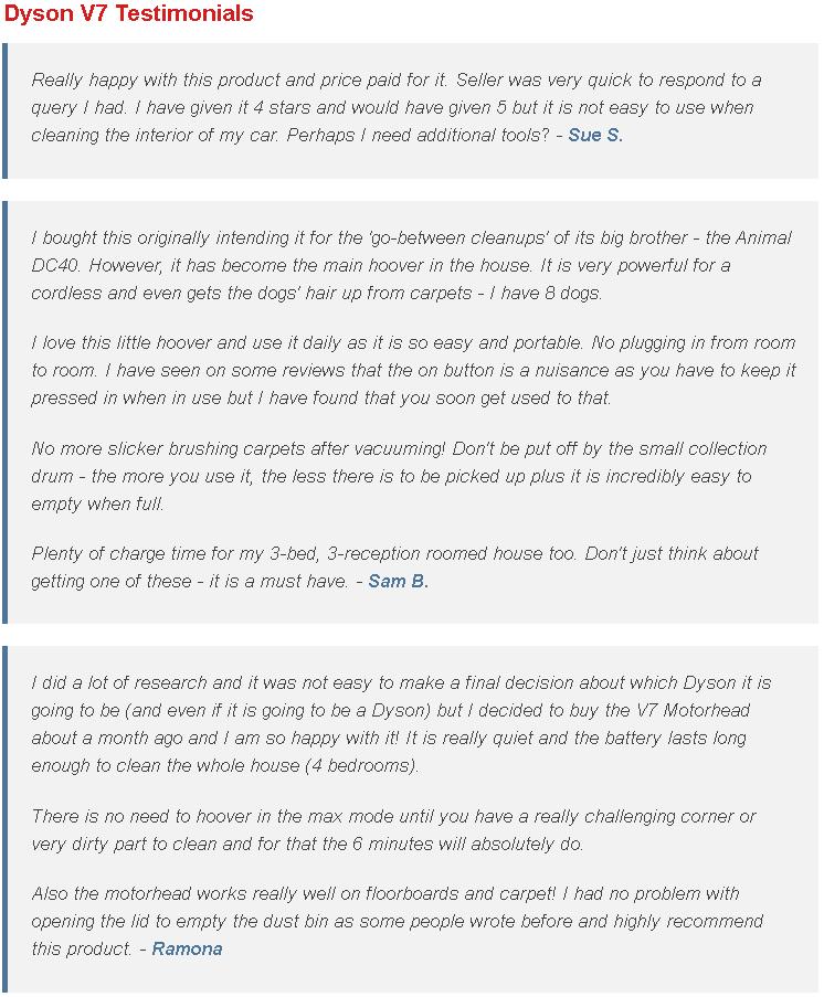 Dyson V7 Testimonials