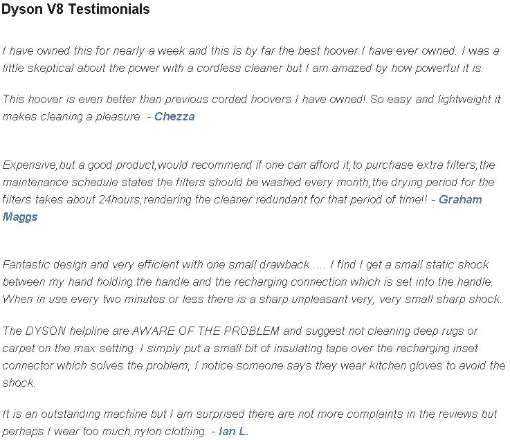 Dyson V8 Testimonials
