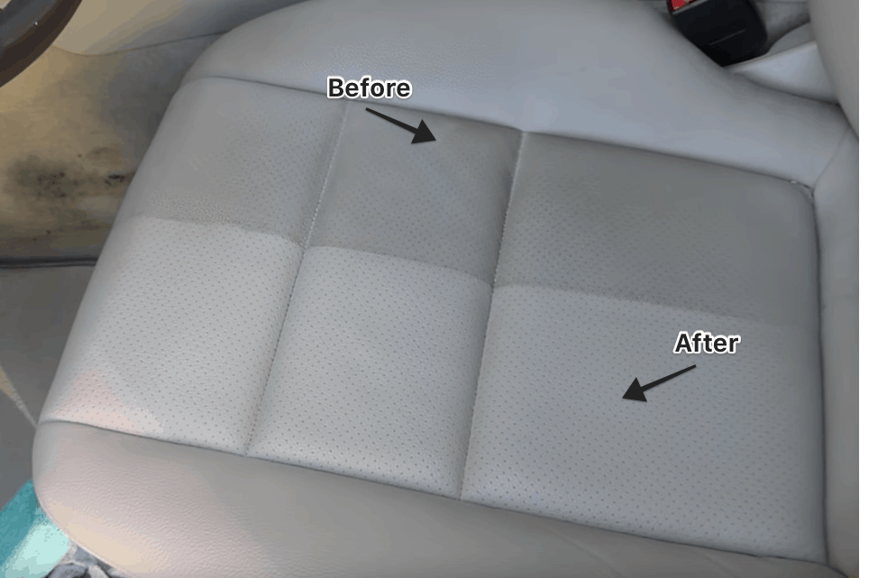 Before and After Car Leather Seat Cleaner
