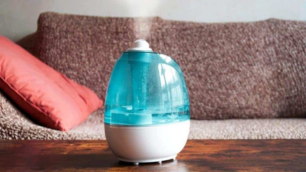 Impeller Humidifier creating a cool mist and spreading through the room