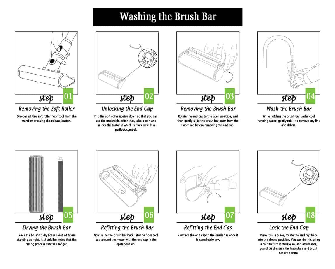 Washing brush bar of Dyson V10 and V11 step by step instructions