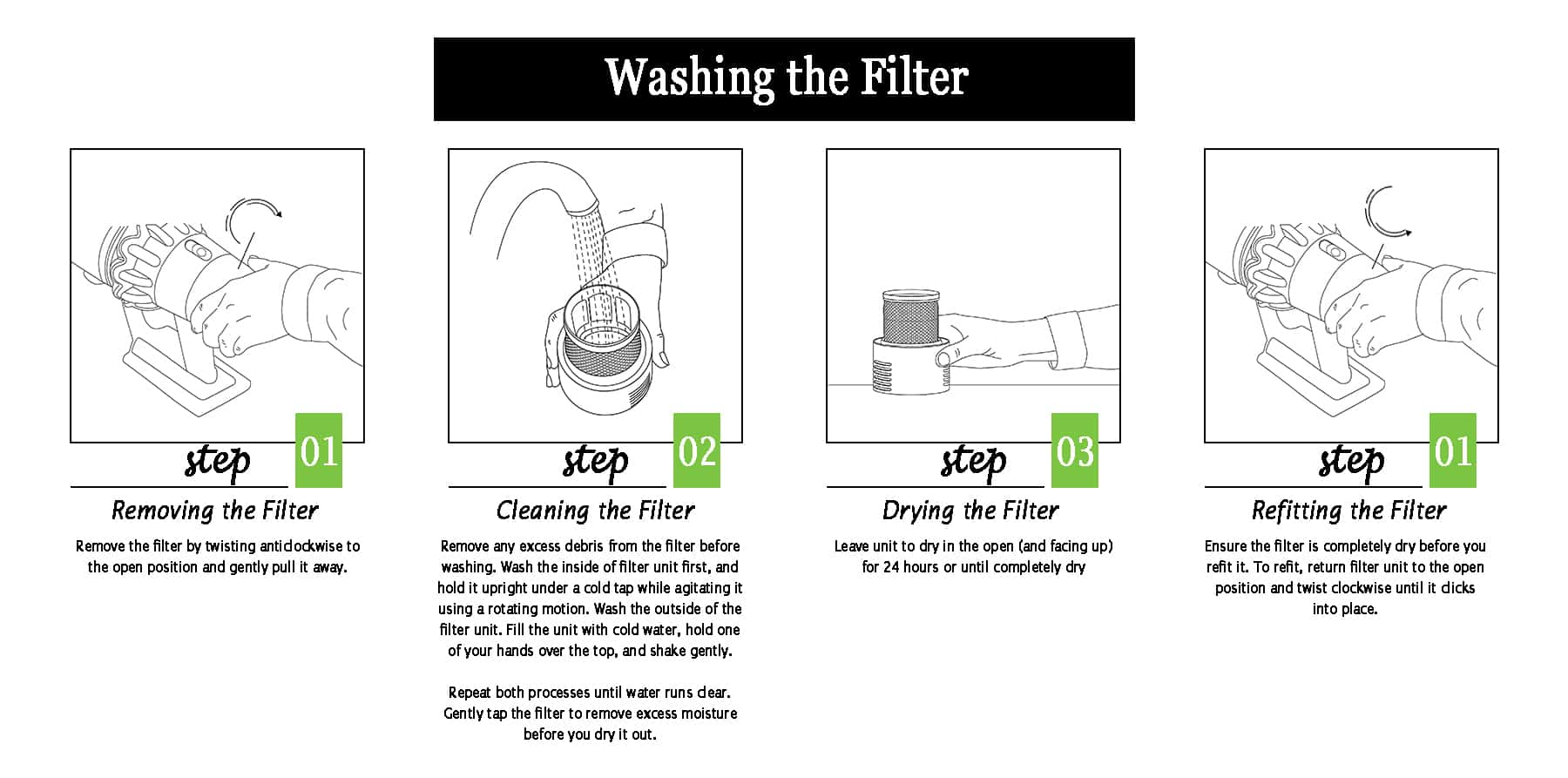 Washing the filter of Dyson V10 and V11 step by step instructions
