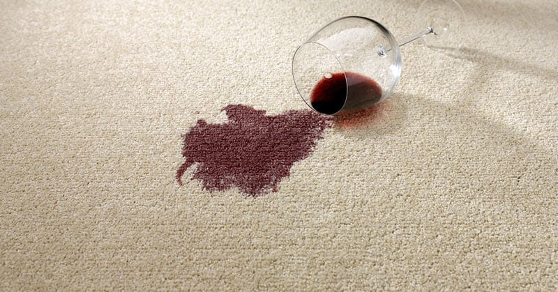 spilt red wine on carpets